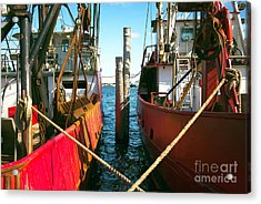 Acrylic Print featuring the photograph Red Boat Docked In The Bay by John Rizzuto
