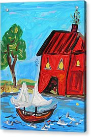 Red Boathouse And Red Sailboat Acrylic Print