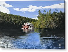 Red Boathouse Acrylic Print