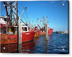 Acrylic Print featuring the photograph Red Boats In The Bay by John Rizzuto