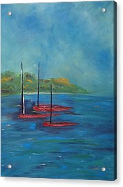 Acrylic Print featuring the painting Red Boats by Judith Rhue