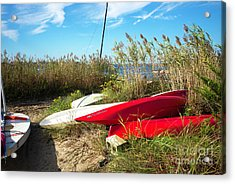 Acrylic Print featuring the photograph Red Boats On The Beach by John Rizzuto