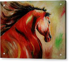 Red Breed Acrylic Print by Khalid Saeed