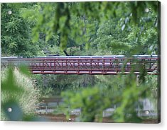 Red Bridge Acrylic Print by Heather Green
