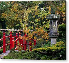 Red Bridge & Japanese Lantern, Autumn Acrylic Print by The Irish Image Collection