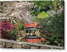 Acrylic Print featuring the photograph Red Bridge Spring Reflection by James Eddy