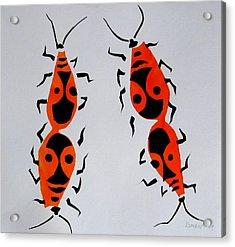 Red Bugs Acrylic Print by Vitali Komarov