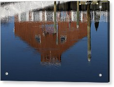 Red Building Reflection Acrylic Print by Karol Livote
