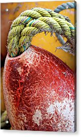 Acrylic Print featuring the photograph Red Buoy Closeup by Carol Leigh