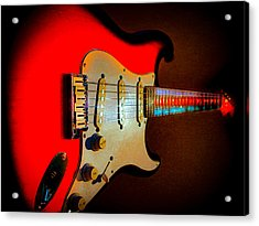 Red Burst Stratocaster Glow Neck Series Acrylic Print