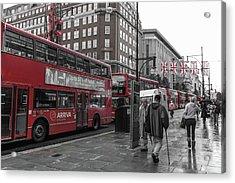 Red Buses And Rain Acrylic Print