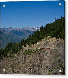 Red Buses, Glacier National Park Acrylic Print