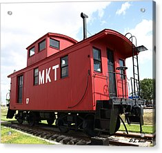 Red Caboose Acrylic Print by Dennis Stein