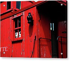Red Caboose Acrylic Print by Scott Hovind