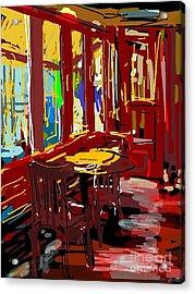 Red Cafe Acrylic Print by Sandra Haney