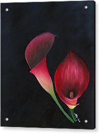 Red Calla Lillies Acrylic Print by Mary Gaines
