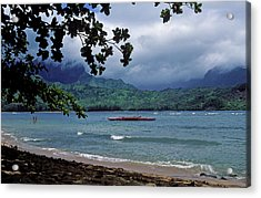 Red Canoe On Hanalei Bay Acrylic Print by Kathy Yates