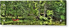 Acrylic Print featuring the photograph Red Canoe Panorama by David Patterson
