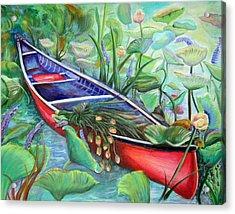 Red Canoe Acrylic Print by Patricia Piffath