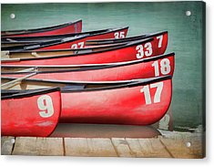 Red Canoes At Lake Louise Acrylic Print by Debby Herold