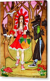 Acrylic Print featuring the painting The Little Riding Hood And The Wolf In Chucks by Don Pedro De Gracia