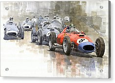 Red Car Ferrari 801mike Hawthorn German Gp 1957  Acrylic Print by Yuriy  Shevchuk