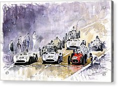 Red Car Maserati 250 France Gp Acrylic Print by Yuriy  Shevchuk