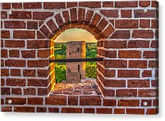 Red Castle Window View Acrylic Print