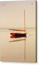 Red Catboat On Misty Harbor Acrylic Print