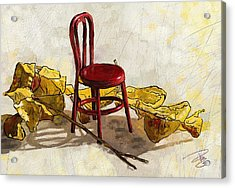 Red Chair And Yellow Leaves Acrylic Print