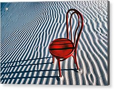 Red Chair In Sand Acrylic Print by Garry Gay
