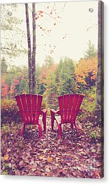 Acrylic Print featuring the photograph Red Chairs By The Lake by Edward Fielding
