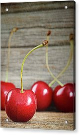 Red Cherries On Barn Wood Acrylic Print by Sandra Cunningham
