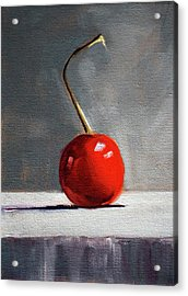 Acrylic Print featuring the painting Red Cherry by Nancy Merkle