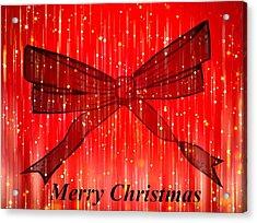 Red Christmas Bow Acrylic Print