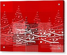 Acrylic Print featuring the digital art Red Christmas Trees by Aimelle