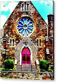 Red Church Door Bethlehem Pa Acrylic Print by Janine Riley
