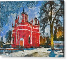 Red Church In Winter Scape Acrylic Print