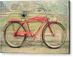 Red Classic Bikes Acrylic Print by Denis Bouchard