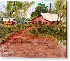 Red Clay Farm - Watercolor Acrylic Print by Barry Jones
