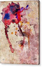 Red Color Splash Acrylic Print