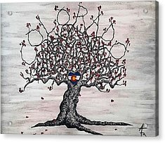 Acrylic Print featuring the drawing Red Colorado Love Tree by Aaron Bombalicki
