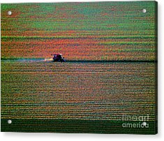 Red Combine Harvesting  Mchenry Aerial Acrylic Print