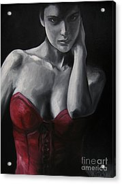 Red Corset Nr.4 Acrylic Print by Jindra Noewi