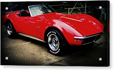 Red Corvette Acrylic Print by Emily Kelley