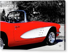 Red Corvette  Acrylic Print by Steven Digman