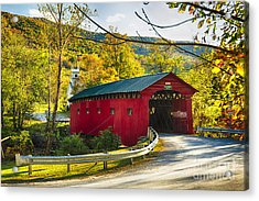 Red Covered Bridge In The Green Mountains Acrylic Print by George Oze