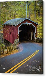 Red Covered Bridge In Lancaster County Park Acrylic Print