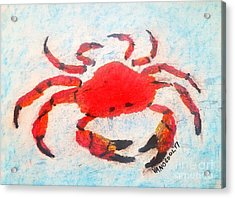 Red Crab - Soft Pastel Coastal Art Acrylic Print