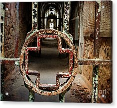 Acrylic Print featuring the photograph Red Cross - Cellblock 3 by Terry Rowe